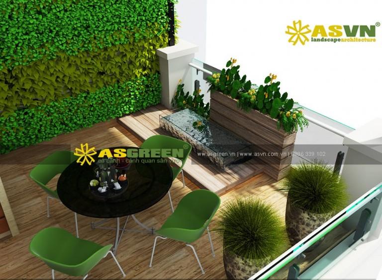 Thiết kế vườn đứng, tiểu cảnh sân thượng – Chị Huyền, TP Hà Nội